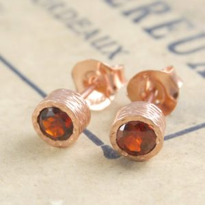 Rose Gold Garnet Earrings, Garnet Studs, Gold Gemstone Earring, Simple Earrings, Textured Earring, Round Earrings, Vintage Inspired Jewelry | Natural genuine Array jewelry. Buy crystal jewelry, handmade handcrafted artisan jewelry for women.  Unique handmade gift ideas. #jewelry #beadedjewelry #beadedjewelry #gift #shopping #handmadejewelry #fashion #style #product #jewelry #affiliate #ad
