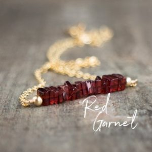Red Garnet Necklace, Gemstone Bar Necklace, January Birthday Gifts, Garnet Jewelry, Girlfriend Gift, Gemstone Jewelry, Crystal Necklace | Natural genuine Array jewelry. Buy crystal jewelry, handmade handcrafted artisan jewelry for women.  Unique handmade gift ideas. #jewelry #beadedjewelry #beadedjewelry #gift #shopping #handmadejewelry #fashion #style #product #jewelry #affiliate #ad