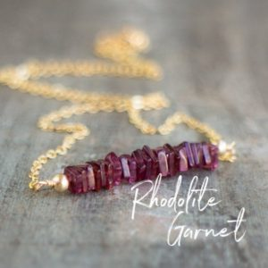 Shop Garnet Necklaces! Rhodolite Garnet Necklace, Pink Garnet Necklace, January Birthday Gifts for Her, Raspberry Garnet Jewelry, Rose Gold Necklace, Wife Gift | Natural genuine Garnet necklaces. Buy crystal jewelry, handmade handcrafted artisan jewelry for women.  Unique handmade gift ideas. #jewelry #beadednecklaces #beadedjewelry #gift #shopping #handmadejewelry #fashion #style #product #necklaces #affiliate #ad