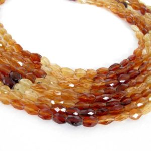 Shop Garnet Bead Shapes! Hessonite Garnet Beads, Shaded Faceted Ovals, 3.5 Inch Strand, Orange Garnets, Faceted Shaded Ovals, Genuine Hessonite Garnets, Hess200 | Natural genuine other-shape Garnet beads for beading and jewelry making.  #jewelry #beads #beadedjewelry #diyjewelry #jewelrymaking #beadstore #beading #affiliate #ad
