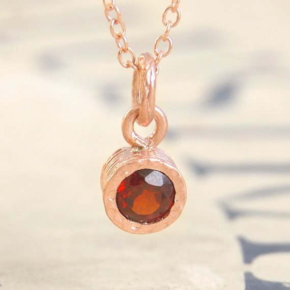 Garnet Necklace, Rose Gold Necklace, Gold Gemstone Necklace, Gemstone Pendant, January Birthstone Necklace, Birthstone Jewelry, Red Stone