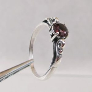 Shop Garnet Jewelry! Garnet Scroll Ring in Sterling Silver, Natural Garnet Jewelry, January Birthstone Rings for Her | Natural genuine Garnet jewelry. Buy crystal jewelry, handmade handcrafted artisan jewelry for women.  Unique handmade gift ideas. #jewelry #beadedjewelry #beadedjewelry #gift #shopping #handmadejewelry #fashion #style #product #jewelry #affiliate #ad