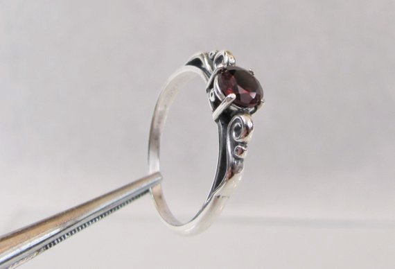 Garnet Ring, Sterling Silver Scroll Ring, January Birthstone Jewelry, Best Friend Gift