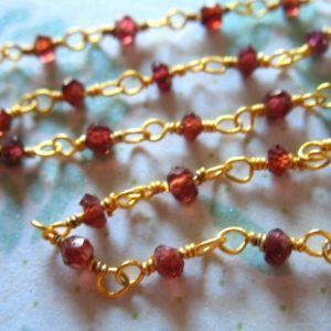 Shop Garnet Rondelle Beads! 30% Off Sale.. GARNET ROSARY Chain by the Foot, Beaded Rondelle Chain, Silver or Gold Plated, Wholesale Gemstone Chain rc.5 wf | Natural genuine rondelle Garnet beads for beading and jewelry making.  #jewelry #beads #beadedjewelry #diyjewelry #jewelrymaking #beadstore #beading #affiliate