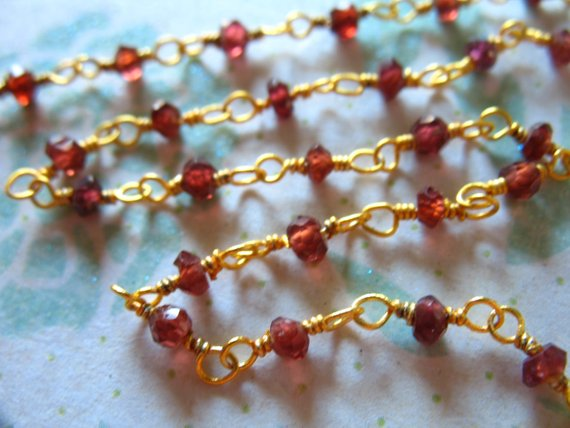 30% Off Sale.. Garnet Rosary Chain By The Foot, Beaded Rondelle Chain, Silver Or Gold Plated, Wholesale Gemstone Chain Rc.5 Wf