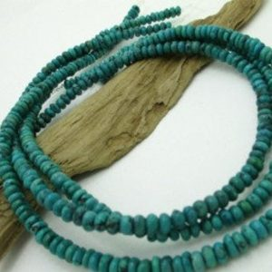 Shop Turquoise Rondelle Beads! Genuine Turquoise Rondelle Bead, Blue Turquoise Rondelle, Blue Stone Bead, 5x3mm (1 strand) | Natural genuine rondelle Turquoise beads for beading and jewelry making.  #jewelry #beads #beadedjewelry #diyjewelry #jewelrymaking #beadstore #beading #affiliate #ad