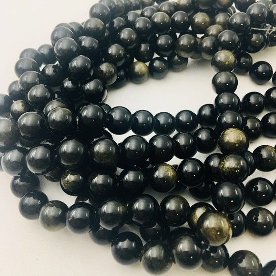 """Gold Sheen Obsidian Smooth Round Beads 4mm 6mm 8mm 10mm 12mm 15.5"""" Strand"""