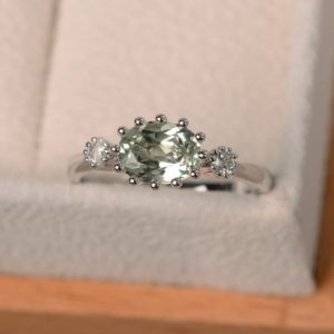 February Birthstone, Engagement Ring, Natural Green Amethyst Ring, Green Gemstone, Oval Cut Gemstone | Natural genuine Gemstone rings, simple unique alternative gemstone engagement rings. #rings #jewelry #bridal #wedding #jewelryaccessories #engagementrings #weddingideas #affiliate #ad
