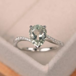 Natural Green Amethyst Ring, Silver Ring, Pear Cut Engagement Ring, Green Gemstone Ring | Natural genuine Gemstone rings, simple unique alternative gemstone engagement rings. #rings #jewelry #bridal #wedding #jewelryaccessories #engagementrings #weddingideas #affiliate #ad