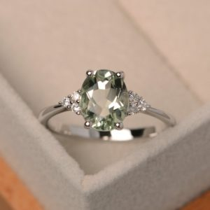 Green Amethyst Ring, Oval Gemstone Ring, Engagement Ring, Natural Green Amethyst, Silver | Natural genuine Gemstone rings, simple unique alternative gemstone engagement rings. #rings #jewelry #bridal #wedding #jewelryaccessories #engagementrings #weddingideas #affiliate #ad