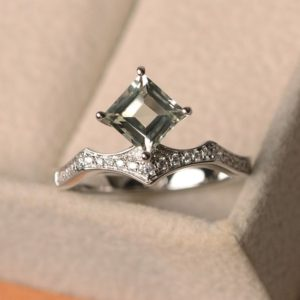 Shop Green Amethyst Rings! green amethyst ring, square cut, sterling silver, kite set engagement ring women | Natural genuine Green Amethyst rings, simple unique alternative gemstone engagement rings. #rings #jewelry #bridal #wedding #jewelryaccessories #engagementrings #weddingideas #affiliate #ad