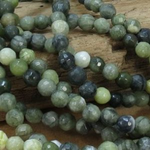 "Green Serpentine Beads, Natural Multi-Colored 6mm Faceted Round Beads, 7"" inch Strand, 6mm Green Beads, Beading Supplies, Item 798pm 