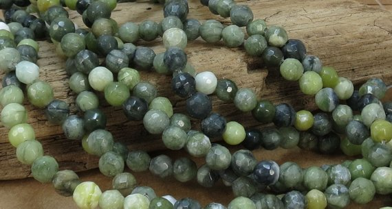 "Green Serpentine Beads, Natural Multi-colored 6mm Faceted Round Beads, 7"" Inch Strand, 6mm Green Beads, Beading Supplies, Item 798pm"