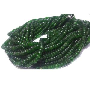 4mm-6mm Chrome Diopside Beads, Green Tourmaline, Green Diopside Faceted Rondelle, Chrome Diposide For Jewelry (6.5IN To 13IN Options) | Natural genuine rondelle Tourmaline beads for beading and jewelry making.  #jewelry #beads #beadedjewelry #diyjewelry #jewelrymaking #beadstore #beading #affiliate #ad