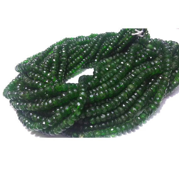 4mm-6mm Chrome Diopside Beads, Green Tourmaline, Green Diopside Faceted Rondelle, Chrome Diposide For Jewelry (6.5in To 13in Options)