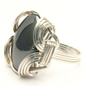 Shop Hematite Rings! Handmade Sterling Silver  Wire Wrap Hematite Ring | Natural genuine Hematite rings, simple unique handcrafted gemstone rings. #rings #jewelry #shopping #gift #handmade #fashion #style #affiliate #ad