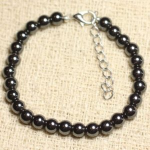 Bracelet 925 sterling silver and Hematite stone – 6mm balls | Natural genuine Array bracelets. Buy crystal jewelry, handmade handcrafted artisan jewelry for women.  Unique handmade gift ideas. #jewelry #beadedbracelets #beadedjewelry #gift #shopping #handmadejewelry #fashion #style #product #bracelets #affiliate #ad
