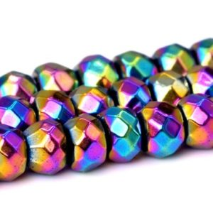 "Shop Hematite Faceted Beads! 3x2MM Rainbow Hematite Beads Grade AAA Natural Gemstone Faceted Rondelle Loose Beads 14"" Bulk Lot Options (101659-399) 