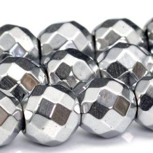 "Shop Hematite Faceted Beads! 4MM Silver Hematite Beads Grade AAA Natural Gemstone Full Strand Faceted Round Loose Beads 15.5"" BULK LOT 1,3,5,10 and 50 (101360-524) 