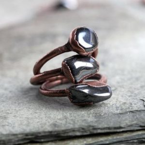 Hematite Ring – Men's Ring – Silver Grey Stone Ring – Smooth Tumbled Stone Ring – Chunky Stone – Wide Band Stone Ring | Natural genuine Hematite rings, simple unique handcrafted gemstone rings. #rings #jewelry #shopping #gift #handmade #fashion #style #affiliate #ad
