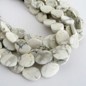 18mm Howlite Beads, Wavy Oval Howlite Beads, Half Strand Natural White Howlite, 18mm Oval Beads, Natural White and Grey, How200 | Natural genuine other-shape Gemstone beads for beading and jewelry making.  #jewelry #beads #beadedjewelry #diyjewelry #jewelrymaking #beadstore #beading #affiliate #ad