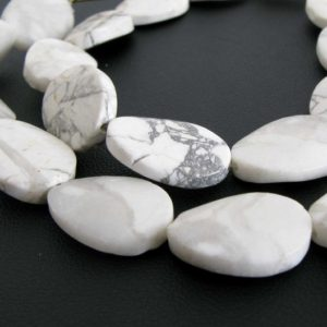 18mm Howlite Beads, Wavy Oval Howlite Beads, Full Strand Natural White Howlite, 18mm Oval Beads, Natural White And Grey, How200 | Natural genuine other-shape Gemstone beads for beading and jewelry making.  #jewelry #beads #beadedjewelry #diyjewelry #jewelrymaking #beadstore #beading #affiliate #ad