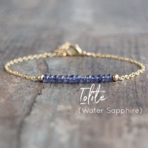 Iolite Bar Bracelet In Gold, Silver or Rose Gold, Water Sapphire Jewelry Gift for Women | Natural genuine Iolite bracelets. Buy crystal jewelry, handmade handcrafted artisan jewelry for women.  Unique handmade gift ideas. #jewelry #beadedbracelets #beadedjewelry #gift #shopping #handmadejewelry #fashion #style #product #bracelets #affiliate #ad