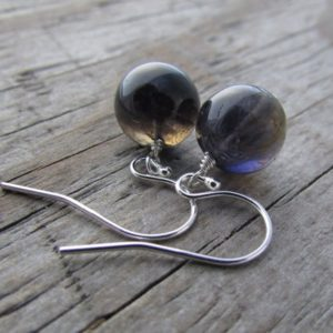 Shop Iolite Jewelry! Iolite Earrings, Small, Simple, Purple Iolite Globes, Dangle Earrings | Natural genuine Iolite jewelry. Buy crystal jewelry, handmade handcrafted artisan jewelry for women.  Unique handmade gift ideas. #jewelry #beadedjewelry #beadedjewelry #gift #shopping #handmadejewelry #fashion #style #product #jewelry #affiliate #ad