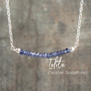 Iolite Gemstone Bar Necklace, Water Sapphire Jewelry Gift for Women, Bridesmaid Gifts | Natural genuine Iolite necklaces. Buy crystal jewelry, handmade handcrafted artisan jewelry for women.  Unique handmade gift ideas. #jewelry #beadednecklaces #beadedjewelry #gift #shopping #handmadejewelry #fashion #style #product #necklaces #affiliate #ad