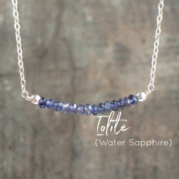Iolite Gemstone Bar Necklace, Water Sapphire Jewelry Gift For Women, Bridesmaid Gifts