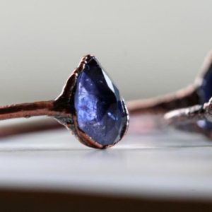 Shop Iolite Rings! Iolite Ring – Blue Crystal Ring – Faceted Stone Ring – Stacking Ring – Electroformed Copper Ring | Natural genuine Iolite rings, simple unique handcrafted gemstone rings. #rings #jewelry #shopping #gift #handmade #fashion #style #affiliate #ad