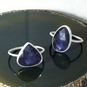 Shop Iolite Rings! Silver Iolite Gemstone Ring-precious Gemstone Ring-statement Blue Purple Gemstone Ring-gifts For Her-lavender Gemstone-anniversary Gift-925 | Natural genuine Iolite rings, simple unique handcrafted gemstone rings. #rings #jewelry #shopping #gift #handmade #fashion #style #affiliate #ad