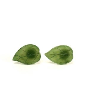 Leaf Earrings – Leaf Studs – Jade Earrings – Nature – Green Leaf Earrings – Green Leaves – A Pair Of Carved Jade Leaf Stud Earrings | Natural genuine Jade earrings. Buy crystal jewelry, handmade handcrafted artisan jewelry for women.  Unique handmade gift ideas. #jewelry #beadedearrings #beadedjewelry #gift #shopping #handmadejewelry #fashion #style #product #earrings #affiliate #ad