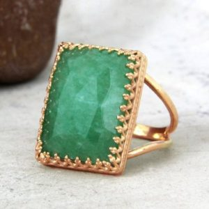 Shop Jade Rings! CYBER MONDAY SALE – Green Jade ring,rose gold filled ring,rectangle ring,crown ring,statement ring woman,large gold ring,14k ring | Natural genuine gemstone jewelry in modern, chic, boho, elegant styles. Buy crystal handmade handcrafted artisan art jewelry & accessories. #jewelry #beaded #beadedjewelry #product #gifts #shopping #style #fashion #product