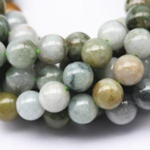 "Shop Jade Round Beads! Natural Multi-Green Jade Smooth Round Beads 6mm 8mm 10mm 12mm 15.5"" Strand 