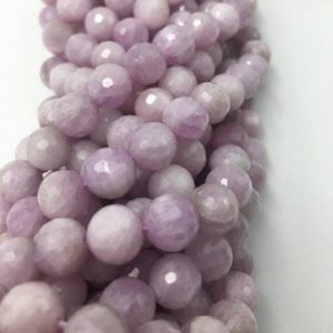 "Natural Kunzite Faceted Round Beads 8mm 9mm 15.5"" Strand 