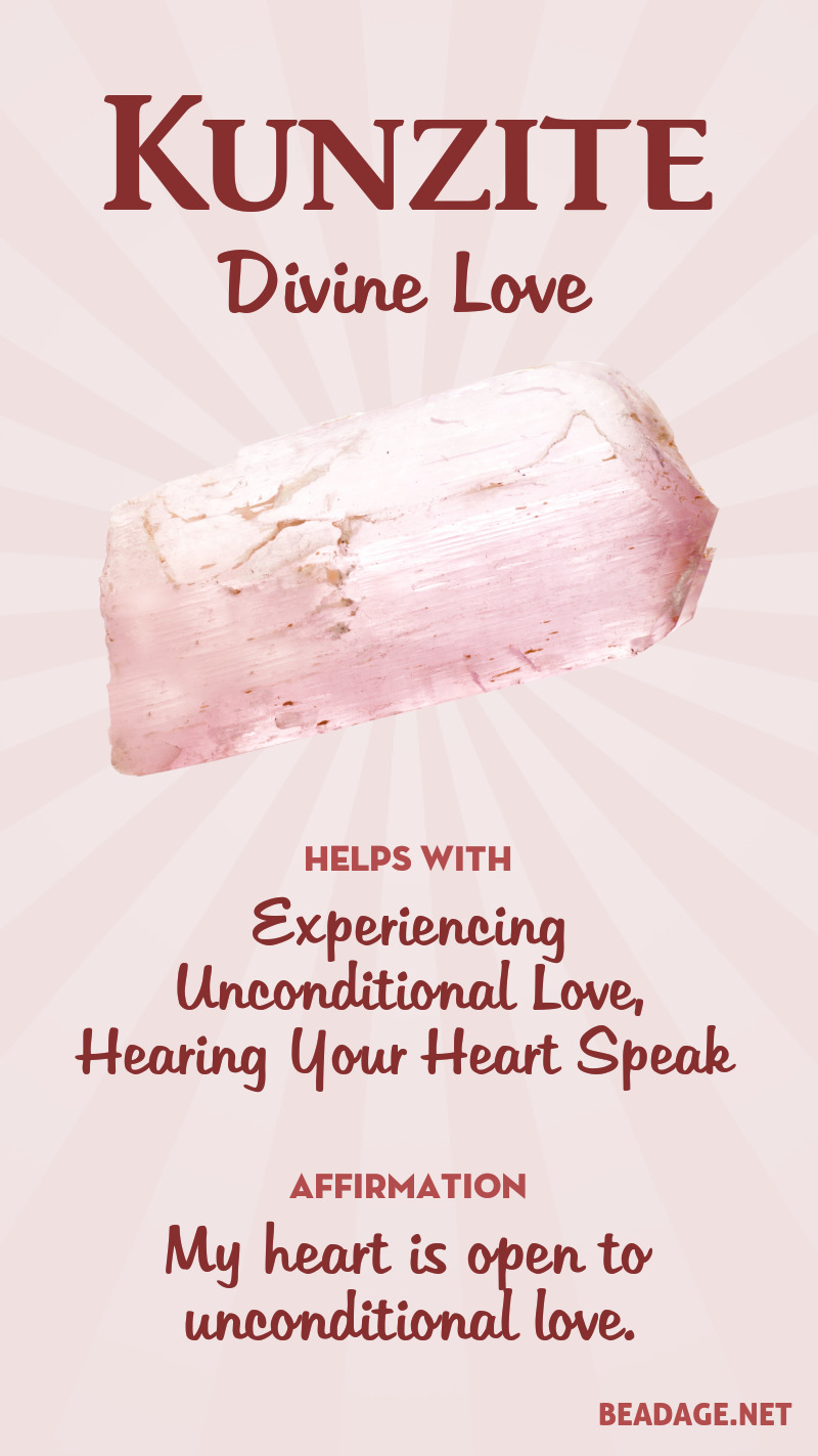 Kunzite Meaning & Healing Properties | Learn gemstone meanings, gemstone information, crystal healing, stone powers, chakra stones, & kunzite benefits. Get some positive energy & vibes! #gemstones #crystals #crystalhealing #beadage  #kunzite