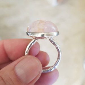 Shop Kunzite Rings! Kunzite ring, kunzite cabachon, US size 9 5/8, big size | Natural genuine Kunzite rings, simple unique handcrafted gemstone rings. #rings #jewelry #shopping #gift #handmade #fashion #style #affiliate #ad