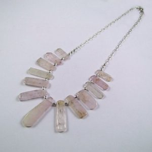Shop Kunzite Necklaces! Kunzite Sterling Silver Necklace – N935 | Natural genuine Kunzite necklaces. Buy crystal jewelry, handmade handcrafted artisan jewelry for women.  Unique handmade gift ideas. #jewelry #beadednecklaces #beadedjewelry #gift #shopping #handmadejewelry #fashion #style #product #necklaces #affiliate #ad