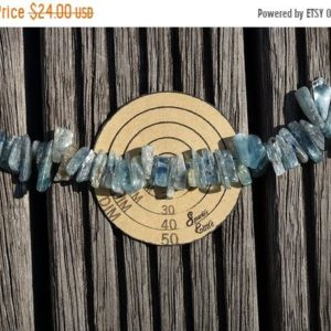 Shop Kyanite Chip & Nugget Beads! Kyanite long chips beads (ETB00726) Unique jewelry/Vintage jewelry/Gemstone necklace | Natural genuine chip Kyanite beads for beading and jewelry making.  #jewelry #beads #beadedjewelry #diyjewelry #jewelrymaking #beadstore #beading #affiliate #ad