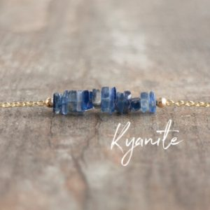 Blue Kyanite Necklace, Throat Chakra Necklace, Raw Stone Choker, Unique Gift For Her, Healing Crystal Jewelry, Gold, Silver | Natural genuine Kyanite necklaces. Buy crystal jewelry, handmade handcrafted artisan jewelry for women.  Unique handmade gift ideas. #jewelry #beadednecklaces #beadedjewelry #gift #shopping #handmadejewelry #fashion #style #product #necklaces #affiliate #ad