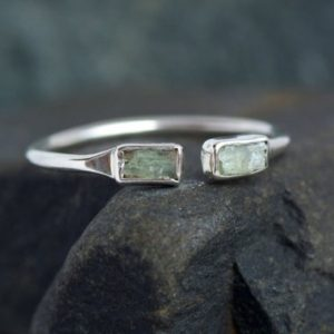 Shop Kyanite Rings! Adjustable Green Kyanite Open Front Ring. Green Kyanite Ring. Kyanite Ring. Adjustable Ring. Adjustable Kyanite Ring. | Natural genuine Kyanite rings, simple unique handcrafted gemstone rings. #rings #jewelry #shopping #gift #handmade #fashion #style #affiliate #ad