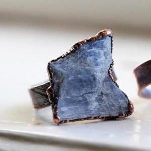 Shop Kyanite Jewelry! Blue Kyanite Ring – Raw Kyanite Jewelry – Electroformed Crystal Ring – Chakra Jewelry – Unisex Ring | Natural genuine Kyanite jewelry. Buy crystal jewelry, handmade handcrafted artisan jewelry for women.  Unique handmade gift ideas. #jewelry #beadedjewelry #beadedjewelry #gift #shopping #handmadejewelry #fashion #style #product #jewelry #affiliate #ad