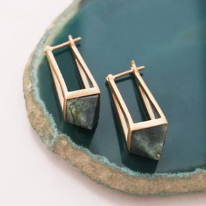 Labradorite Geometric Earrings,  Rose Gold Labradorite Earrings, Geometric Drop Earrings, Labradorite Gemstone Earrings, Embers Jewellery | Natural genuine Labradorite earrings. Buy crystal jewelry, handmade handcrafted artisan jewelry for women.  Unique handmade gift ideas. #jewelry #beadedearrings #beadedjewelry #gift #shopping #handmadejewelry #fashion #style #product #earrings #affiliate #ad