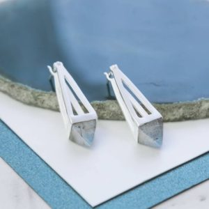Shop Labradorite Earrings! Sterling Silver Labradorite Earrings, Pyramid Drop Earrings, Labradorite Earrings, Silver Gemstone Earrings, Geometric Earrings, Embers, 925 | Natural genuine Labradorite earrings. Buy crystal jewelry, handmade handcrafted artisan jewelry for women.  Unique handmade gift ideas. #jewelry #beadedearrings #beadedjewelry #gift #shopping #handmadejewelry #fashion #style #product #earrings #affiliate #ad