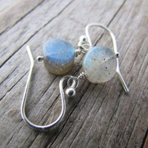 Shop Labradorite Earrings! Labradorite Earrings, tiny labradorite coin beads, silver dangle earrings | Natural genuine Labradorite earrings. Buy crystal jewelry, handmade handcrafted artisan jewelry for women.  Unique handmade gift ideas. #jewelry #beadedearrings #beadedjewelry #gift #shopping #handmadejewelry #fashion #style #product #earrings #affiliate #ad