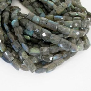 "Shop Labradorite Bead Shapes! Labradorite Beads, Genuine Faceted Labradorite Rectangle Beads, Half Strand Labradorite Beads, 7"" Strand, Lab205 