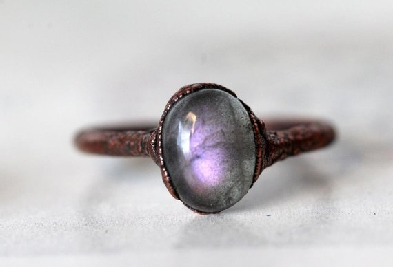 Labradorite Ring - Purple Labradorite - Crystal Ring - Copper And Labradorite Ring