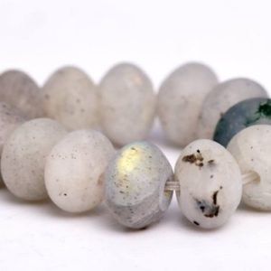 "Shop Labradorite Rondelle Beads! 8x5MM Matte White Labradorite Beads Grade AB Natural Gemstone Half Strand Rondelle Loose Beads 7.5"" BULK LOT 1,3,5,10 and 50 (102273h-485) 