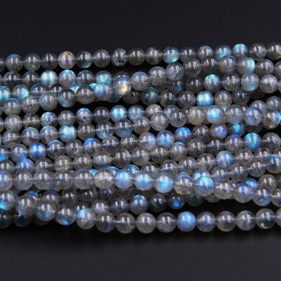 """Blue Flashes~ Aaa Natural Blue Labradorite 4mm Round 6mm Round 7mm Round 8mm Round Beads 15.5"""" Strand"""